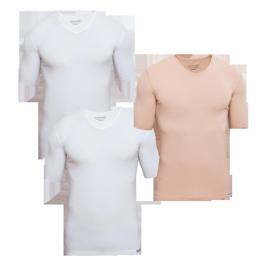 3er Pack Herrenunterhemden mit V-Ausschnitt