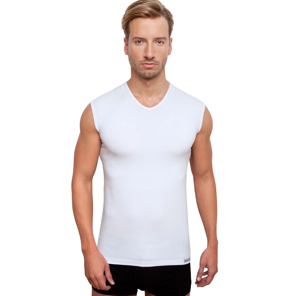 Ärmelloses Unterhemd Weiß oder Hautfarbe mit V-Ausschnitt