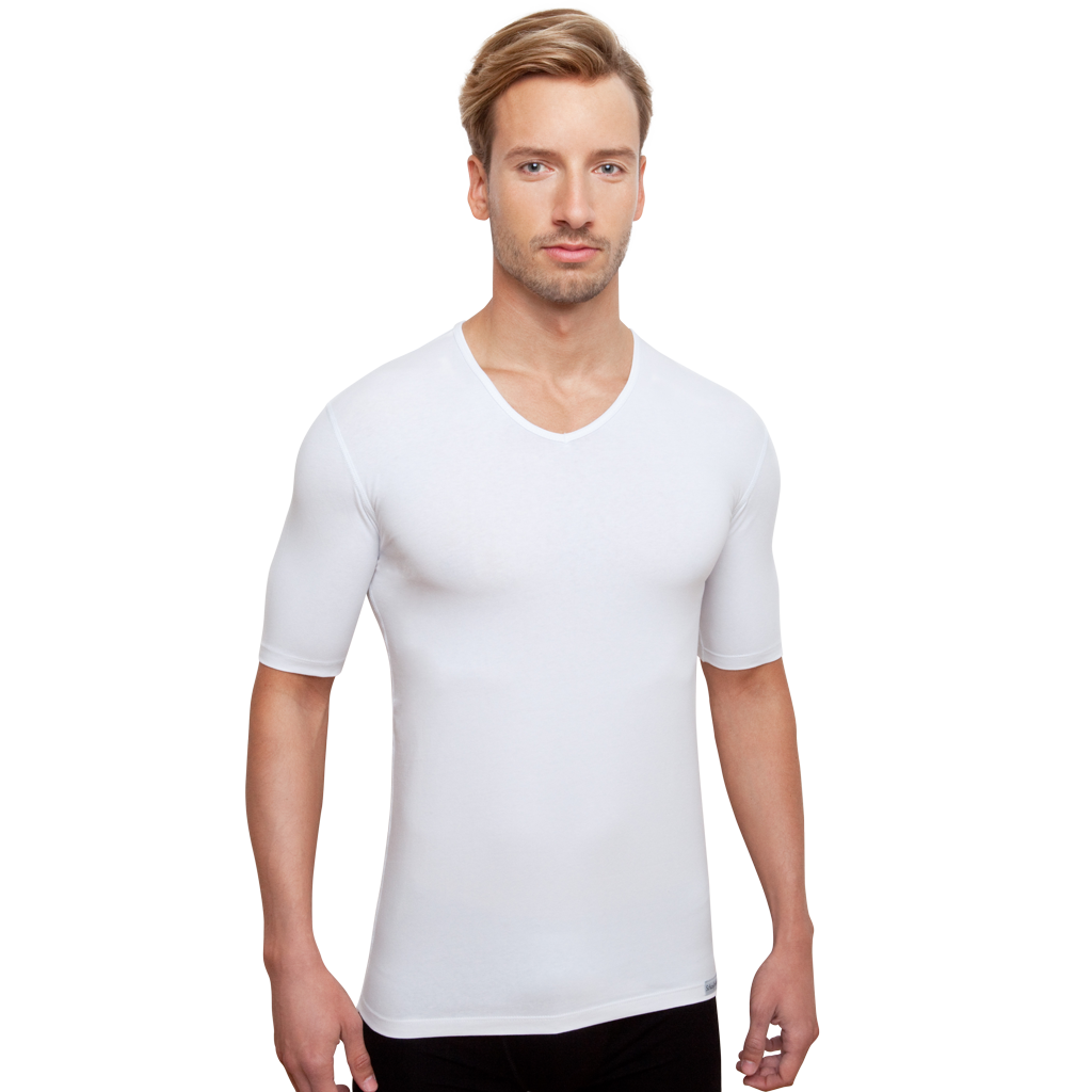 Herrenunterhemd mit V-Ausschnitt in Weiß